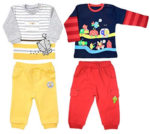 bebepan Babybekleidung Oberteil und Hose Mädchen Jungen Zweiteiliger Anzug Bekleidungssets Babyanzug Neugeboren Sweatshirt Unisex Freizeitanzug (80-86, Gelb (S 1011))