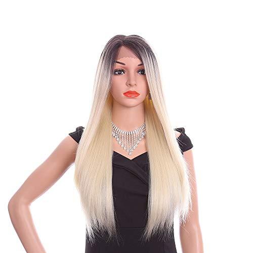 Pelucas SWNN Negro gris degradado de blanco europeo y americano de la peluca Señora Frente chica química del cordón Cubierta pelo de la fibra de 26 pulgadas