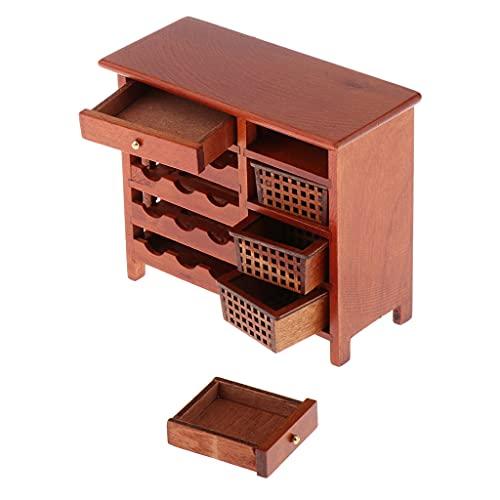 yotijay 1/12 Escala Casa de Muñecas Muebles en Miniatura Gabinete de Vino de Madera Juguetes de Casa de Muñecas