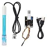 garsent Medidor de pH Digital, módulo de Sensor de pH + sonda de pH Sensor de código de Prueba del electrodo para Aquaponics, Tanques de Peces.