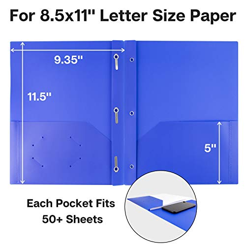 Dunwell Pocket Folders with Prongs - (12 Pack of Blue Folders) Heavy Duty Plastic Folders with Fasteners, 2-Pocket Folders for School, Letter Size Color Folders with Pockets, Includes Removable Label Photo #4