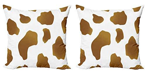 ABAKUHAUS impresión de la Vaca Set de 2 Fundas para Cojín, Las Manchas Marrones en la Vaca, con Estampado en Ambos Lados con Cremallera, 40 cm x 40 cm, Blanco Marrón