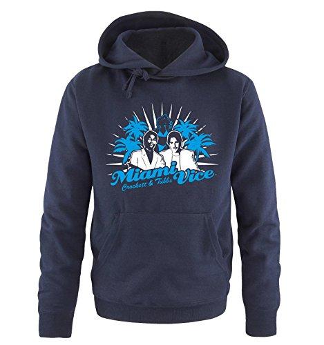 Comedy Shirts - MIAMI VICE - CROCKETT & TUBBS - Herren Hoodie in Navy/Weiss-Blau Gr. XXL