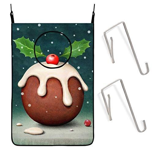 ZCHW Tarjeta de Navidad Cartel Pudín Puerta Colgante Cesto de lavandería Bolsa Bolsa de Ropa Sucia Recipiente de Almacenamiento Canasta de lavandería Bolsa de lavandería