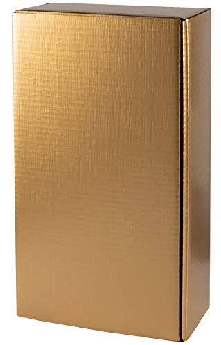 5 Stück/Set. Wein Geschenkkarton, Gold Seidenglanz mit Struktur für 2 Flaschen