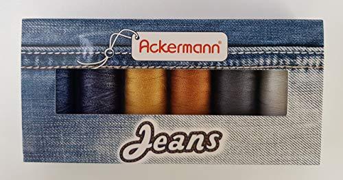 Ackermann Nähfaden-Set für Jeans, 6X Rollen Jeansnähgarn á 150m in Stärke 80