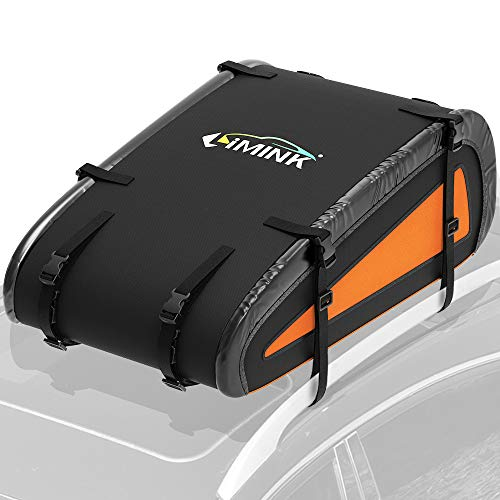 LIMINK Car Roof Bag, Rooftop Cargo Carrier with 8 Heavy Duty Straps & Anti - Slip Mat, Soft Shell Luggage Storage Bag for Any Vehicle with Roof Racks