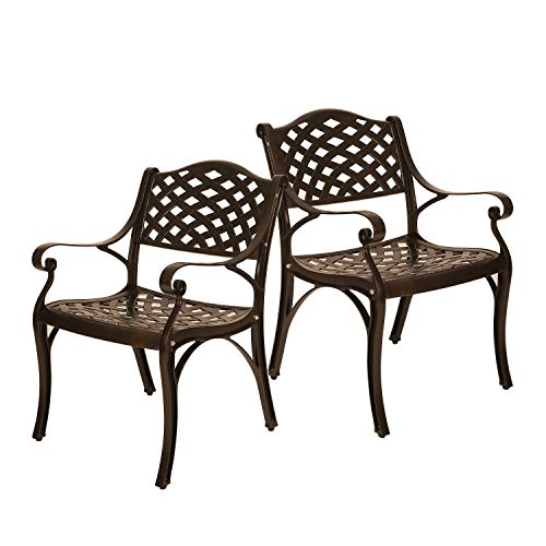 ELECWISH Cast Aluminum Bronze Outdoor Bistro Dining Chairs Patio Furniture Set of 2