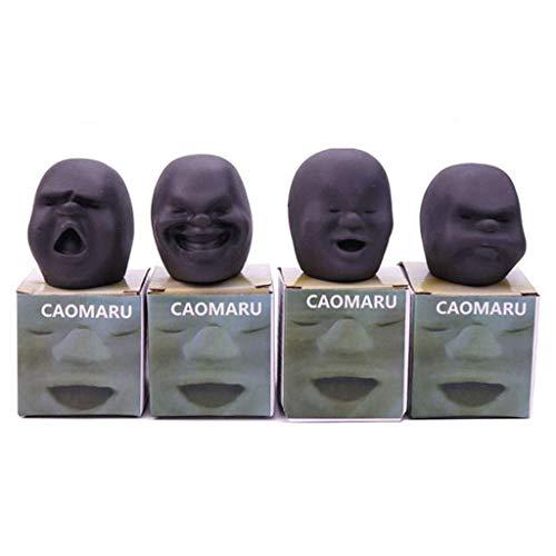 Uteruik Bola de la cara humana Caomaru para el estrés, juguete para apretar la ventilación, juguetes antiestrés para adultos y niños (#A)