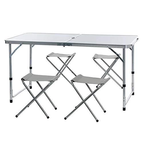 Conjunto de mesa y silla de exterior La mesa y la silla plegables al aire libre portátiles, la aleación de aluminio, la mesa de la barbacoa y la silla, la altura de las patas de la mesa se puede ajust