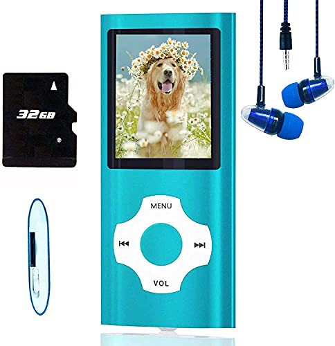MP3 Player / MP4 Player, Hotechs MP3 Music Player with 32GB Memory SD Card Slim Classic Digital LCD 1.82'' Screen Mini USB Port with FM Radio, Voice Record (Blue)