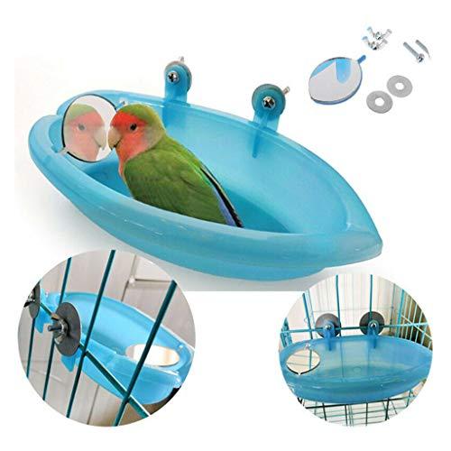 ZFFLYH Vogelbad met Vogelspiegel/Kleine Ovale Papegaai Baddouche Badkuip benodigdheden Staande Doos