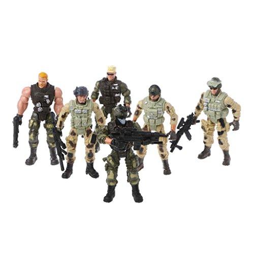 Junlinto, 6Pcs / Set Action Figure Soldatini Giocattolo con Figure Militari Armi Giocattolo per Bambini