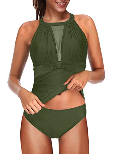 Eternatastic Women Two Piece Swimsuit High Neck Plunge Mesh Ruched Tankini Swimwear XXL Green