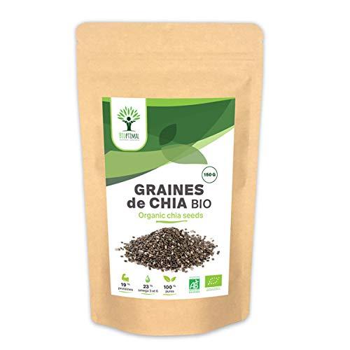 Graines de chia - Bioptimal - Graines de chia bio - Superaliment - Omega 3 - Transit - Made in France - Certifié par Ecocert - (150 g)