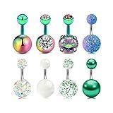 8 Piezas Barbell Curvado 6mm Corto Piercing Ombligo Anillo para Mujeres Niñas Vientres Anillo Crystal CZ Barra Piercing Joyería