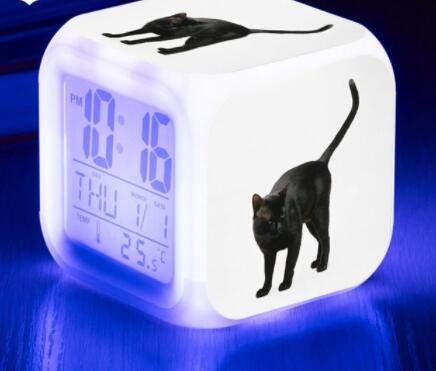 shiyueNB Pantalla de Gato Lindo Reloj LCD Temperatura/Calendario Pantalla de Gato Lindo Reloj Despertador LED Reloj de Juguete para niños Pantalla Digital LED Negro