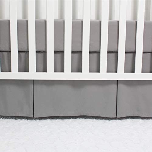 CaSaJa Microfiber Baby Crib Skirt with Box Pleated Long Sides, Soft Breathable Dust Ruffle Fits Standard Crib and Toddler Bed, Neutral Color for Baby Boys and Girls, 14 inches Drop, Grey