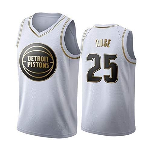 Miyapy Basketball Jersey Pistons #25 Rose Sommer Herren Trikot Basketball Uniform Stickerei Tops Basketball Anzug Trikots Schwarzgold-Trikot
