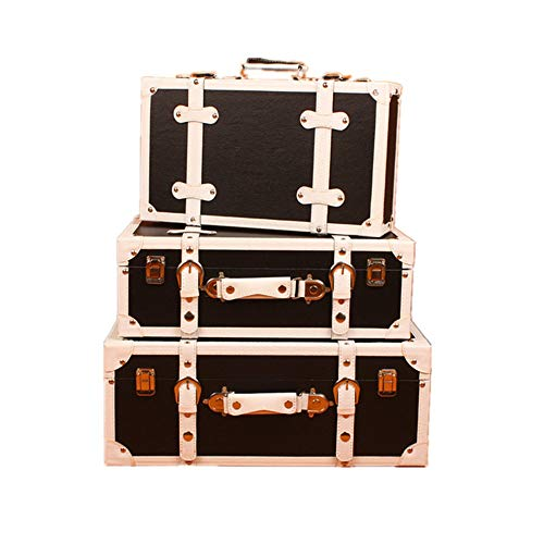 DLSMB Vintage koffer set 3 navy opbergkoffers Europese retro koffer raamdecoratie weergave decoraties ornamenten voor slaapkamer, woonkamer