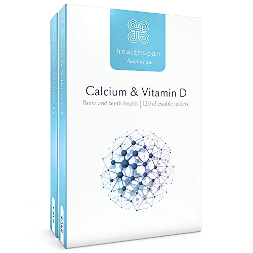 Calcium & Vitamin D | Healthspan | 240 Chewable Tablets | Vitamin D3 | Added Vitamin K | Calcium Carbonate | Vegetarian