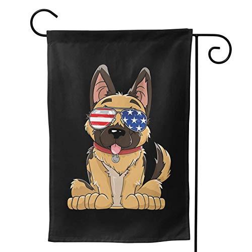 Fendy-Shop Protección UV Lavable Bandera de jardín Pastor alemán Gafas de Sol Americanas 4 de Julio Perro Poliéster a Prueba de Viento 12.5'x18' / W32cm x L48cm Cartel de Banner de Patio Exterior