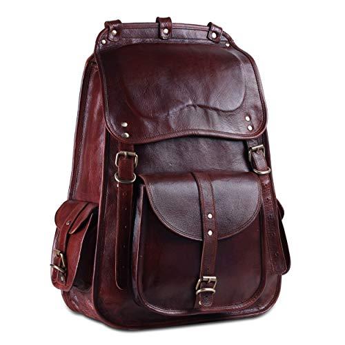 Handmade World Vintage Full Grain 17 Inch Leather Laptop Backpack Casual Bookbag Daypack Camping Travel Rucksack Knapsack For Men Women