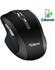 Silent Rechargeable Bluetooth Wireless Mouse - Tsmine Noiseless Mute Mouse 3 adjustable DPI 6 buttons Ergonomic Cordless Mouse for Notebook, PC, Laptop, Computer, Macbook, Macbook pro and Android OS Tablet, Black
