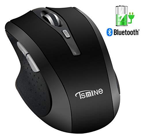 Kabellose Maus Bluetooth, Leise Wireless Mouse Wiederaufladbare für PC, Mac und Android OS Tablet Bluetooth Optische Maus 3 einstellbare DPI, 6 Tasten Ergonomisch Maus - Schwarz