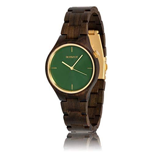 Hot & Tot Silva–Wooden Watch–Sandalwood–40mm–Brown Green Silver