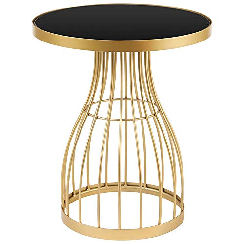 Sofa Side Table End Table Industrial Side Table Living Room End-Table Nordic Round Wrought Iron End Table Simple And Modern Coffee Table Creative Furniture For Home,Bedroom,Living Room And Patio,Black