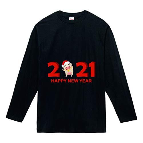 【】選べる6色 2021 新年 丑年 おもしろ tシャツ Tシャツ メンズ レディース キッズ 長袖 子供 大人おしゃれ t shirts tsyatu オリジナル お正月 年賀 年末 パーティー ギフトプレゼント プリントTシャツlt102-s05 (ブ