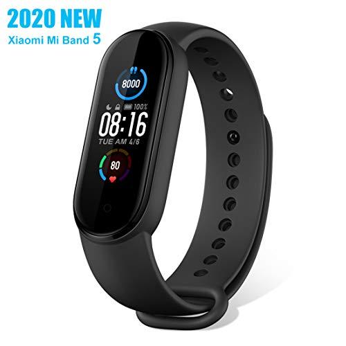 Fitness Tracker Armband für Xiaomi Mi Band 5 Aktivitätsmonitor 1.1'' Farbbildschirm Pulsmesser/ Schlafmonitor 5ATM Wasserdicht Schrittzähler Herren- und Damen Sport Smartwatch mit iOS und Android