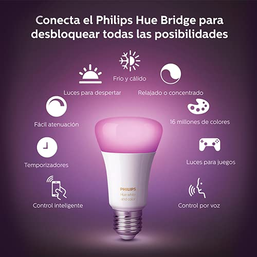 Philips Hue White and Color Ambiance A19 LED Smart Bulb, Bluetooth & Zigbee Compatible (Hue Hub Optional), Works with Alexa & Google Assistant – A Certified for Humans Device
