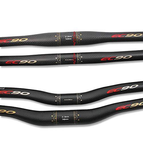 BUCKLOS US-Stock EC90 Flat/Riser Mountainbike-Lenker, superleichter Carbon-Lenker 25,4 / 31,8 mm, 660 / 680 / 700 / 720 / 740 / 760 mm, passend für MTB, Radfahren, Rennrad, XC-Fahrrad