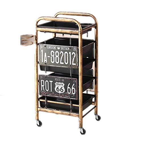 Rollen Trolley Retro Salon Friseur Wagen 4/5 Schichten Schönheit Schublade Barber-Tool Spa Lagertablett Professionelle Friseur Friseurbedarf,B,5T
