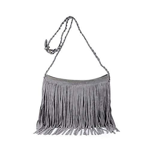 Solid bohemian Donne borsa Nappa Spalla Messenger Borsa a Mano Croce Body Bag Borsa Borsa da Donna, Grigio, (A tinta unita), Taglia unica