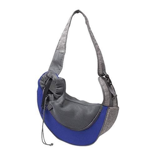 Weilifang Bolsa de Hombro Pet Net Pet Cloth Mochila al Aire Libre Mascota Que Porta Bolsa de Transporte Ajustable Animal Portador, Azul, S