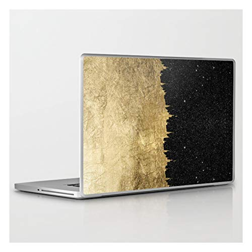 Laptop & Tablet Skin - 13' MacBook/Pro/Air - Faux Gold and Black Starry Night Brushstrokes by B