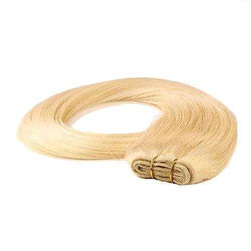 hair2heart Tresse / Weft aus Echthaar, 100g, 50cm, glatt - Farbe 22 goldblond