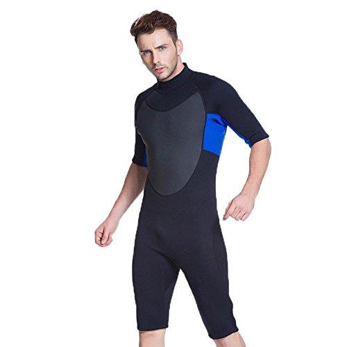 Axjzh Mens Una Pieza 3mm Traje de Buceo Semi-seco Traje de Neopreno Shorts, Black, s