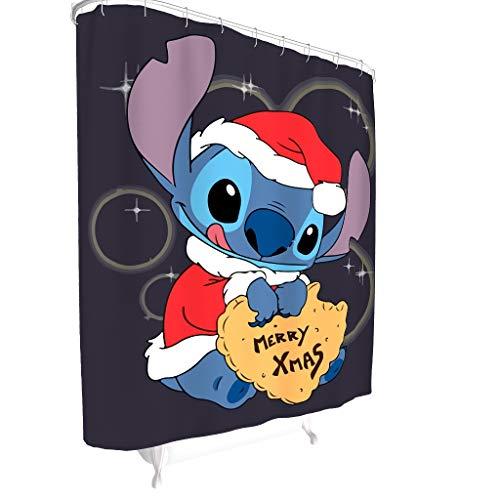Bobonc Douchegordijn met vrolijke kerststeek patroon antibacterieel waterafstotend douchegordijn Ohana badkuipgordijn 100% polyester