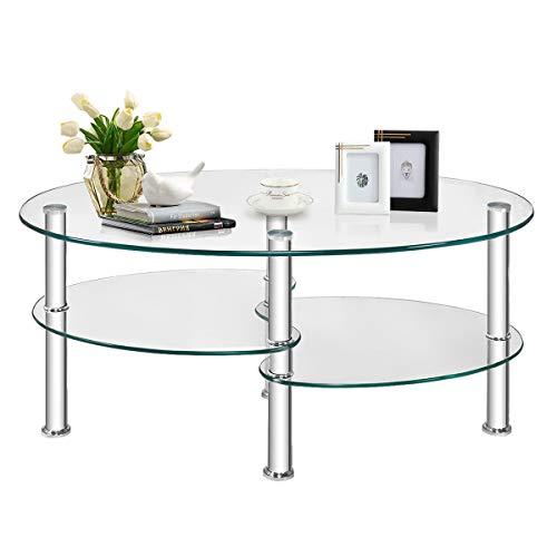 GIANTEX Glas Couchtisch Oval, Beistelltisch Glastisch Kaffeetisch mit Metallgestell, Wohnzimmertisch Wohnzimmertisch mit 3 Etagen, Hartglas, transparent