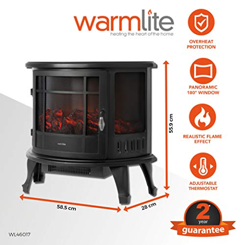 Warmlite Bath Log Effect Electric Stove Fire with Adjustable Thermostat Control, Realistic LED Flame Effect, Overheat Protection, Thermal Cut-Off, Curve Effect Design, 1800 W, Black
