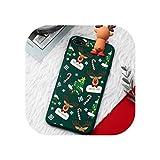 クリスマス漫画ケースIphone X Xr 11プロXsマックス鹿サンタクロースソフトシリコンケースIphone 7 8 6 6Sプラス7プラスカバー、Iphone 7プラス、グリーン