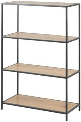 Selsey Seaford - Bibliothèque symétrique / Bibliothèque Industrielle - chêne / Noir - 114 cm