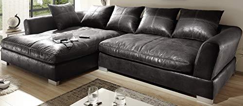 Reboz Big Sofa Ecksofa Vintage Braun Schwarz Ausrichtungen (Vintage Schwarz, Links)