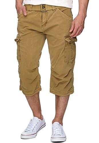 Indicode Herren Nicolas Check 3/4 Cargo Shorts kariert mit 6 Taschen inkl. Gürtel aus 100% Baumwolle   Kurze Hose Sommer Herrenshorts Short Men Pants Cargohose kurz für Männer Amber 3XL