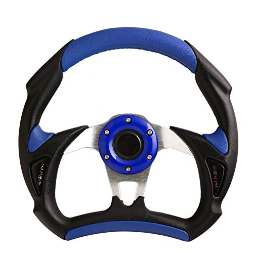 Universal PU Leather Type Auto Racing Car Steering Wheel Stitching Sport Blue For F1 JDM Great