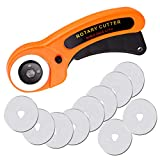 Rotary Cutter, 45mm Rotary Cutter for Fabric, Rotary Fabric Cutter with Safety Lock, Included Extra 10 Pack 45mm Replacement Blades, Ergonomic Rotary Cutter Tool for Quilting Sewing Arts Crafts